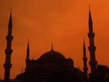 Blue Mosque at Sunset, Istanbul, Turkey Photographic Print by Bill Bachmann