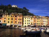 Colorful Buildings with Boats in the Harbor, Portofino, Italy Stampa fotografica di Bill Bachmann
