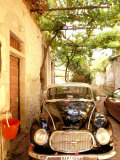 Old Automobile Sedan, Kardamyli, Messina, Peloponnese, Greece Photographic Print by Walter Bibikow