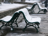 Snow Covered Benches, Place Victor Hugo, Grenoble, Isere, French Alps, France Photographic Print by Walter Bibikow
