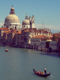 Gondola on the Grand Canal nearing the Santa Maria della Salute, Venice, Italy Photographic Print by Janis Miglavs