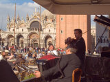 Band Playing for the Crowd in the Piazza San Marco, Venice, Italy Photographic Print by Janis Miglavs