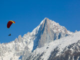Paraglider and Aiguille du Midi, French Alps, Haute-Savoie, Chamonix, Mont Blanc, France Photographic Print by Walter Bibikow
