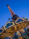Winter View of the Eiffel Tower and Carousel, Paris, France Photographic Print by Walter Bibikow