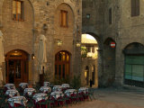 Restaurant in a Small Piazza, San Gimignano, Tuscany, Italy Photographic Print by Janis Miglavs