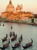Sunset View of Gondolas in the Grand Canal and the Santa Maria Della Salute, Venice, Italy Photographic Print by Janis Miglavs