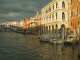 Sunset View of Storm Clouds and Boats on the Grand Canal, Venice, Italy Photographic Print by Janis Miglavs
