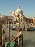 Gondolas near the Grand Canal and the Santa Maria Della Salute, Venice, Italy Photographic Print by Janis Miglavs