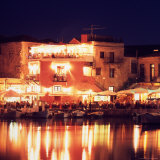 Harborside Restaurants at Night, Old Town, Rethymnon, Western Crete, Greece Photographic Print by Steve Outram