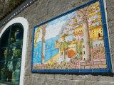 Ceramic Shop with Positano View Done in Tile, Positano, Amalfi, Campania, Italy Photographic Print by Walter Bibikow