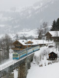 Ski Train, Gstaad, Bern, Switzerland Photographic Print by Walter Bibikow
