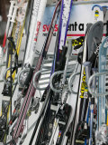 Ski Rack with Skis, Grindelwald, Bern, Switzerland Photographic Print by Walter Bibikow