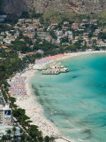 Beach View from Monte Pellegrino, Mondello, Sicily, Italy Photographic Print by Walter Bibikow