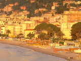 Beachfront View at Dawn, Alassio, Riviera di Ponente, Liguria, Italy Photographic Print by Walter Bibikow