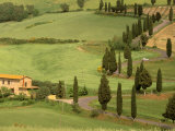 Winding Tuscan Road, Monticchiello, Tuscany, Italy Photographic Print by Walter Bibikow