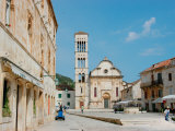 Main Square and Cathedral of St. Stephen, Hvar, Dalmatian Coast, Croatia Photographic Print by Alison Jones