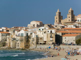 Town View with Duomo from Beach, Cefalu, Sicily, Italy Photographic Print by Walter Bibikow