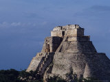 Tourist, Pyramid, Uxmal, Mexico Photographic Print by Kenneth Garrett