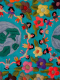 Textile with Children Holding Hands, Lake Atitlan, Western Highlands, Guatemala Fotografisk tryk af Cindy Miller Hopkins