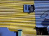 Yellow and Blue Walls with Shadow of a Street Light, La Boca, Buenos Aires, Argentina Photographic Print by Lin Alder
