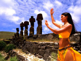 Woman in Costume at Ahu Tongarriki, Tapati Festival, Rapa Nui, Easter Island, Chile Photographic Print by Bill Bachmann
