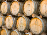 Oak Barrels in Winery, Sonoma Valley, California, USA Photographic Print by Julie Eggers