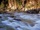 The Payette River Flows by with Lit Rock Wall Behind, Idaho, USA Photographic Print by Brent Bergherm