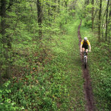 Mountain Biker on the Erie Canal Trail, Defiance, Ohio, USA Fotoprint van Chuck Haney