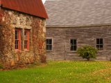 Wooden Barn and Old Stone Building in Rural New England, Maine, USA Photographic Print by Joanne Wells