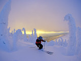 Skier in Snowghosts at Big Mountain Resort in Whitefish, Montana, USA Photographic Print by Chuck Haney