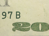 Close-up of Details on Colorful American Currency with Numbers and Lettering Photographic Print