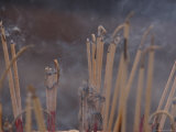 Close-up of Smoldering Sitcks of Incense Photographic Print