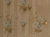 Close-up of Old-Fashioned Wallpaper with Little Blue Flowers Photographic Print