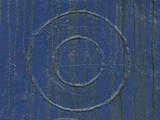 A Blue Wooden and Weathered Wall with Circles Photographic Print