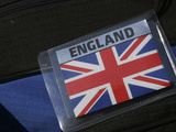 Sign with England and the British Union Jack Flag Fotografisk tryk