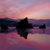 Pink Sunset Over Mountains and Lake Photographic Print