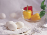 White Eggs on with a Wisk and Colorful Bell Peppers Photographic Print