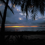 Golden Tropical Sunset Over Dark Ocean Photographic Print