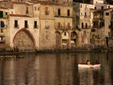 People Rowing Boat in Town Harbour, Cefalu, Italy Photographic Print by Bethune Carmichael