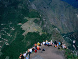 Tourists at Lookout Above Machu Picchu on the Peak of Huayna Picchu, Machu Picchu, Peru Photographic Print by Mark Daffey