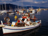Fisherman on Boat Heading Out of Harbour, Santa Margherita, Liguria, Italy Photographic Print by Stephen Saks