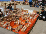 Handicrafts and Shell Boxes for Sale on Beach, Tartus, Syria Photographic Print by Wayne Walton
