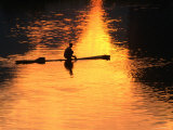 Fisherman on Raft at Sunset on the Li River, Yangshuo, China Photographic Print by Keren Su