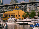 Yachts Docked Near Bridges Restaurant with Granville Island Bridge in Background, Vancouver, Canada Photographic Print by Stephen Saks