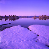 Winter Sunset Over Lake with Snow in Foreground, Mono Lake, USA Photographic Print by Wes Walker