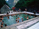 People Relaxing at Aguas Calientes Thermal Baths, Cuzco, Peru Photographic Print by Mark Daffey