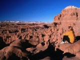 Hiker at Viewpoint Overlooking Goblin Valley State Park, Utah, USA Photographic Print by Cheyenne Rouse