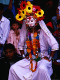 Masked Character During Dasain Celebrations, Patan, Nepal Photographic Print by Ryan Fox