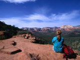 A Hiker Taking in the Views of Red Rock Wilderness in Sedona, Sedona, Arizona, USA Photographic Print by Cheyenne Rouse