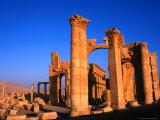 Monumental Gate Ruins at Sunrise, Palmyra, Syria Photographic Print by Wayne Walton